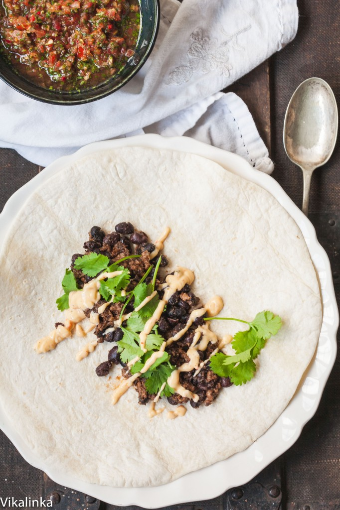 Chipotle Beef and Black Bean Burrito with Peri Peri Sauce
