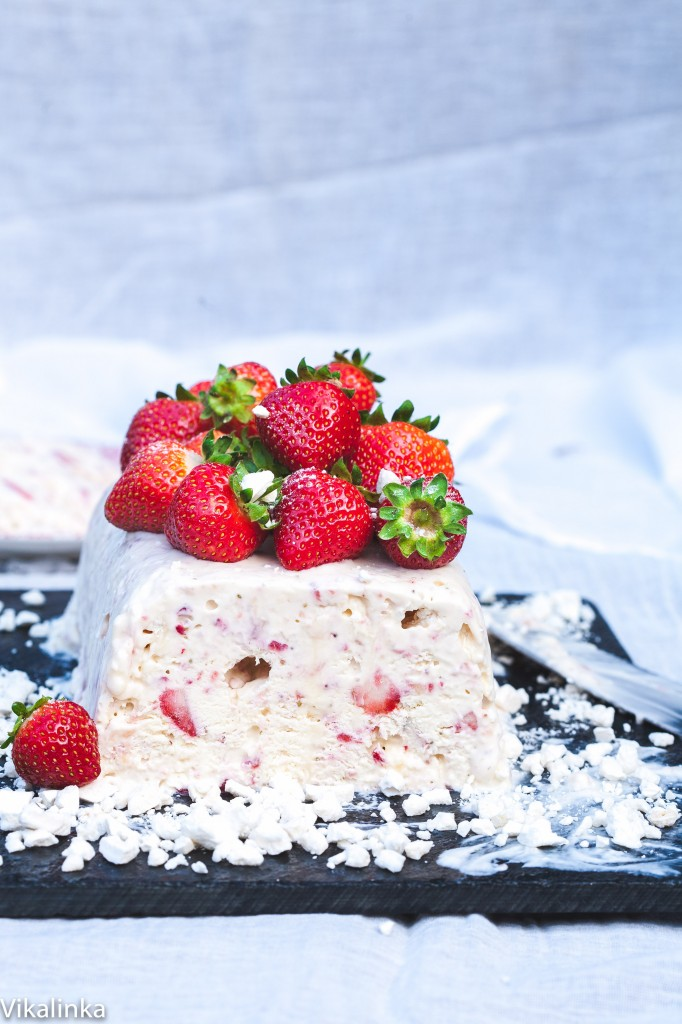 Eton Mess Semifreddo- a classic British dessert turned into a frozen treat. 4 ingredients and 15 minutes of your time!