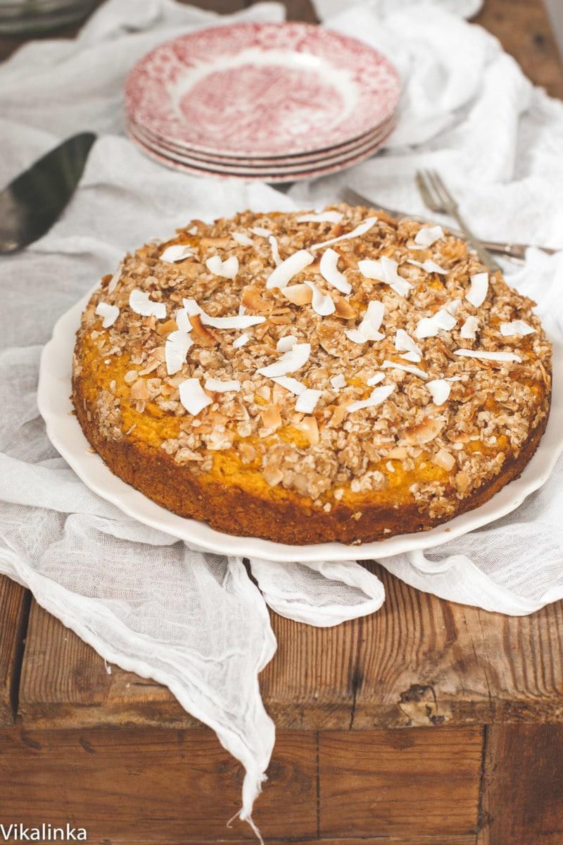Skinny Mango Coffeecake with Toasted Coconut Crumble.