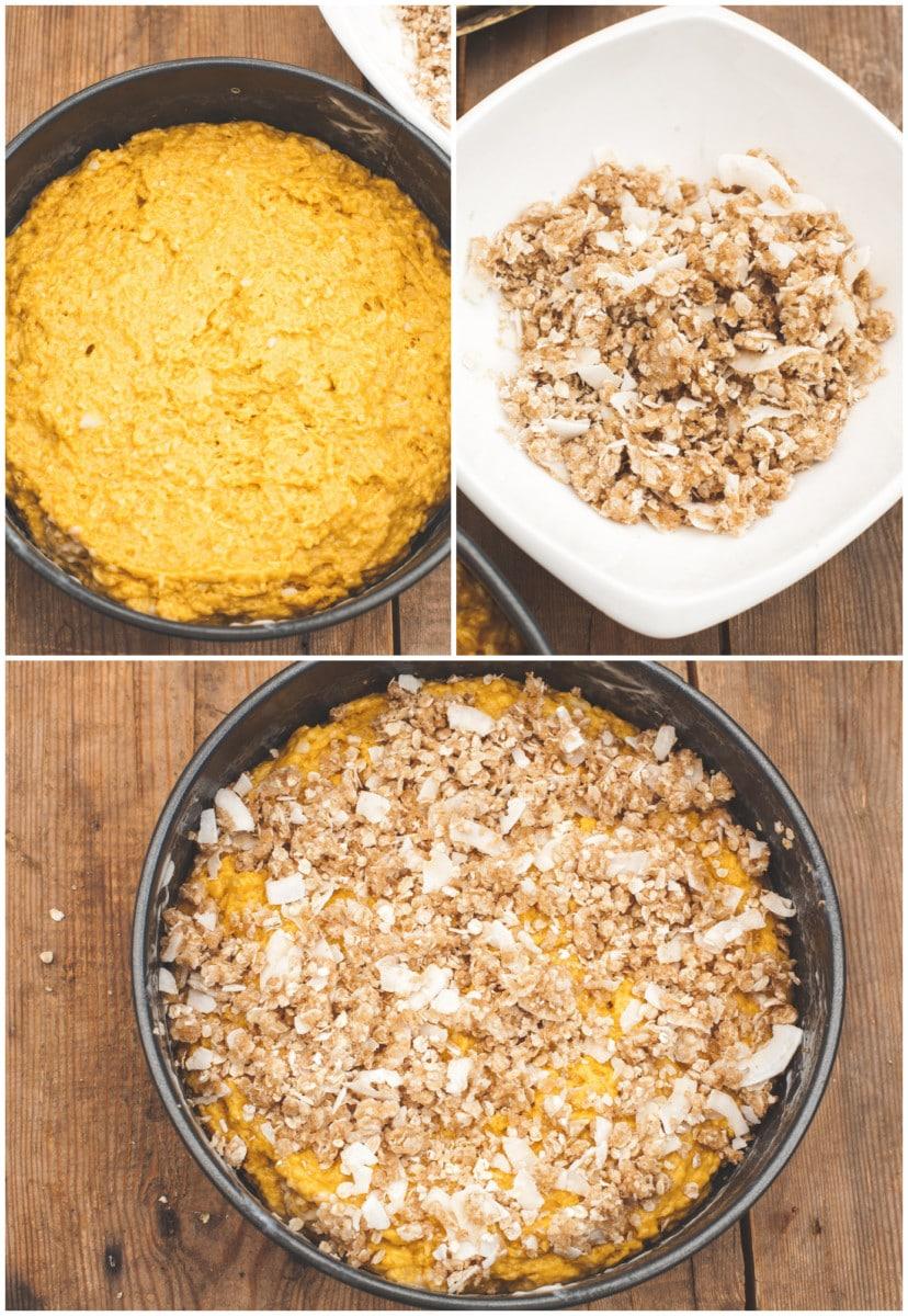 Skinny Mango Coffeecake with Toasted Coconut Crumble