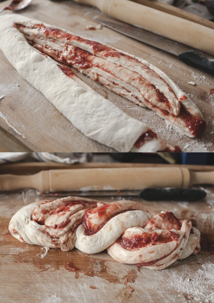 Rhubarb and Red Currant swirled bread