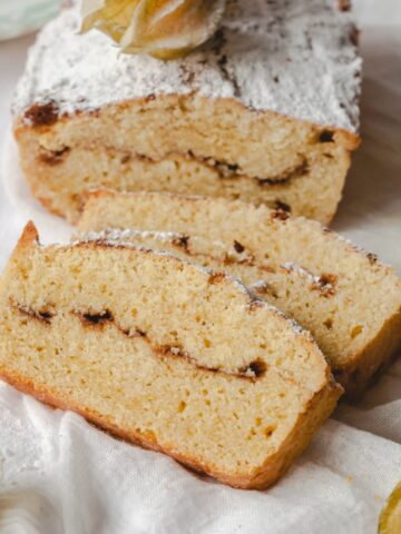 sliced pound cake with cinnamon swirl