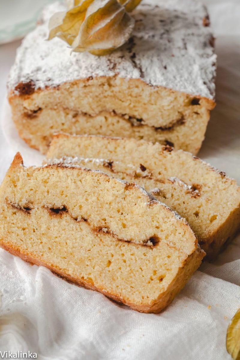 sliced pound cake with cinnamon swirl