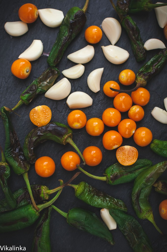 Chile Verde with Physalis and Padron Peppers