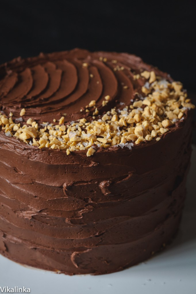 Chocolate cake with salted caramel frosting and honeycomb pieces