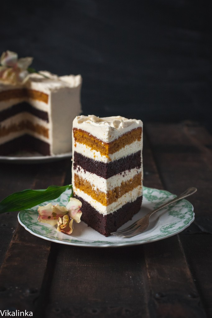 Slice of the cake showing the layers