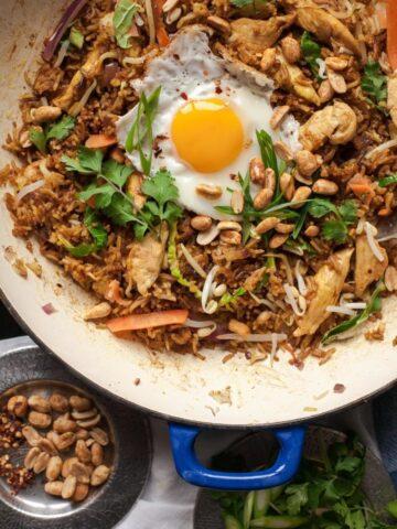 Nasi Goreng in blue pan with fried egg