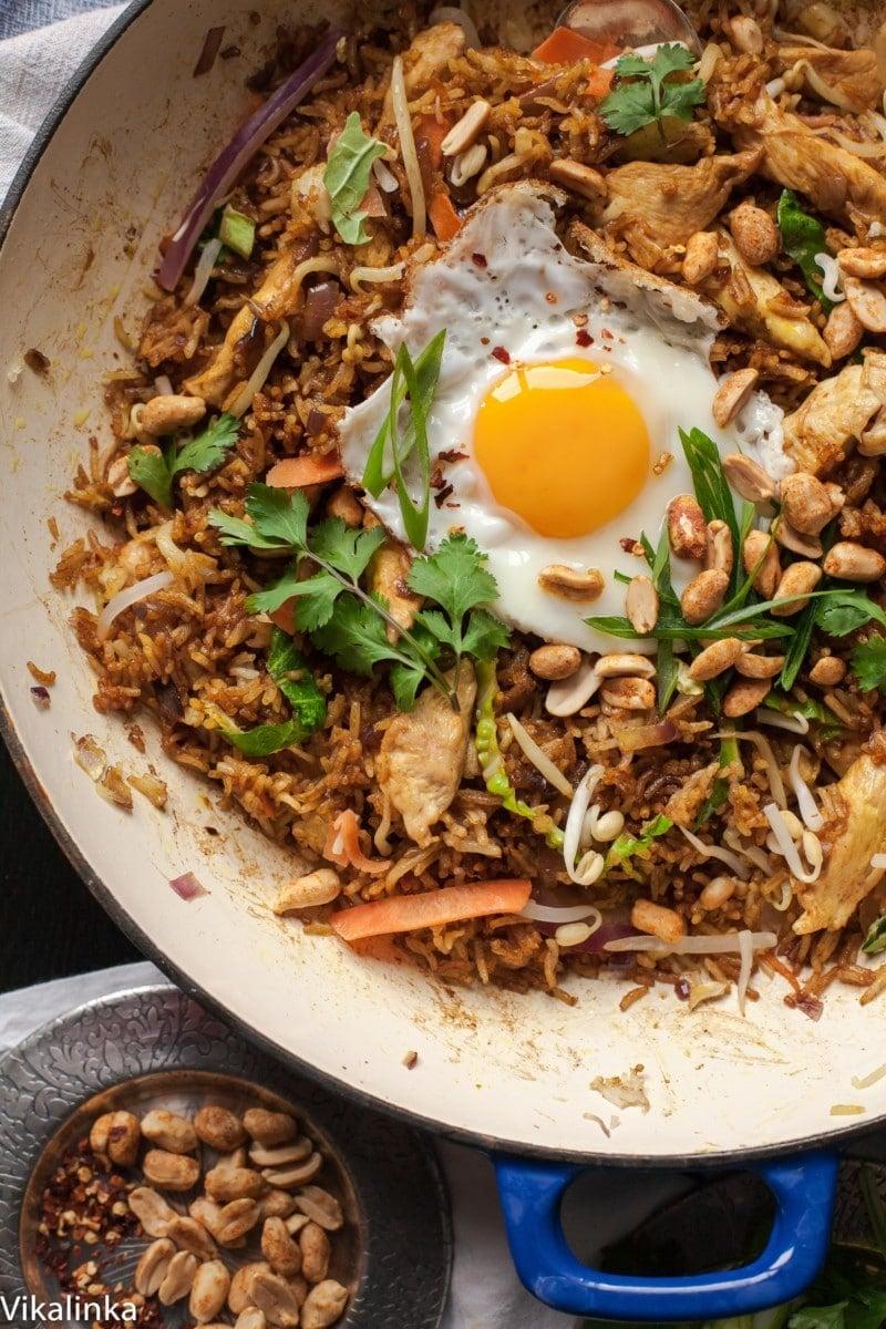 Top down of fried rice Nasi Goreng