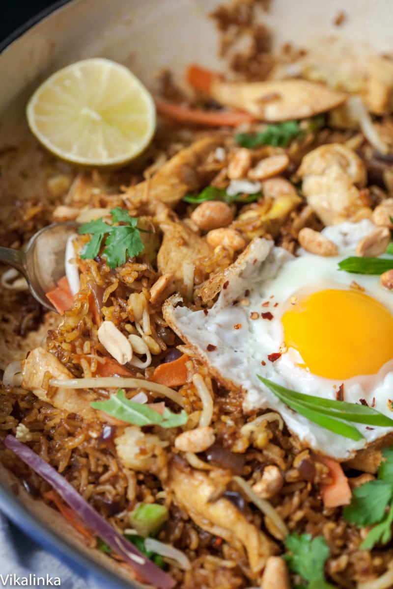 close up of Nasi Goreng in a pan