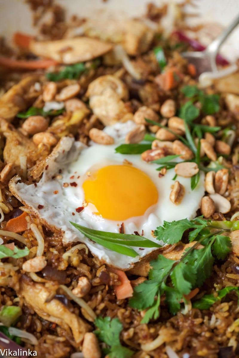 Close up of fried egg on Nasi Goreng