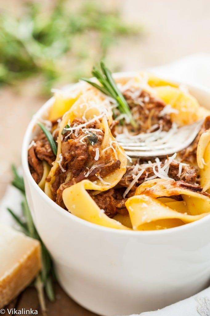 Crock Pot Rustic Italian Beef Ragu and Tagliatelle