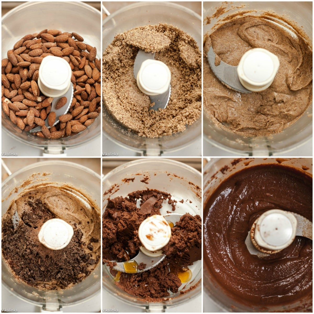 Process shots of nutella ingredients in blender