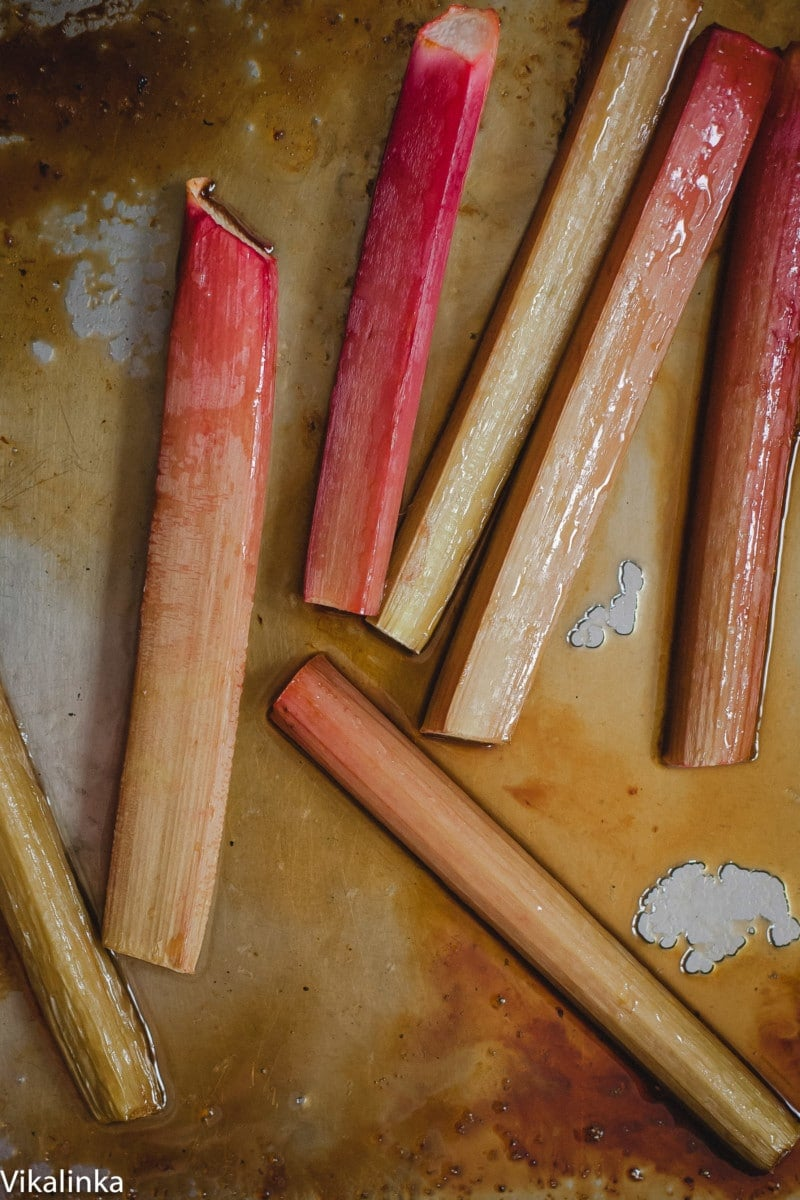 rhubarb on a roasting pan in its juices