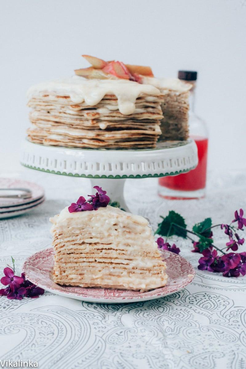 Rhubarb Custard Crepe Cake