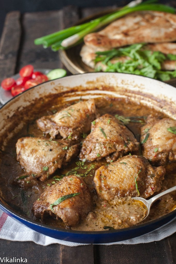 This Georgian Chicken in Garlic Walnut Sauce is a perfect one-pot dish that is easy enough for a weeknight dinner while also impressive for a dinner party!