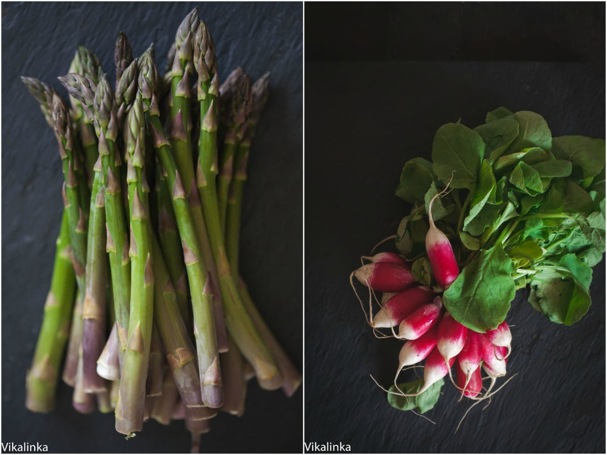 raw asparagus and a bunch of radishes