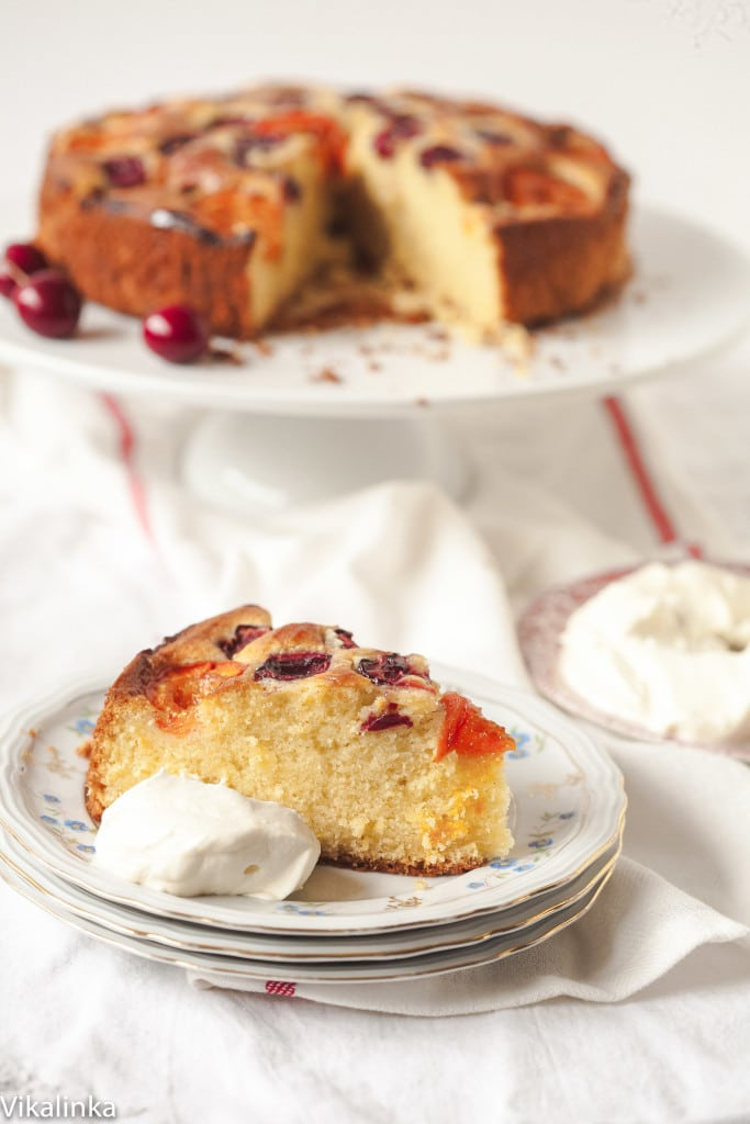 Cherry and Apricot Cake with Amaretto Cream
