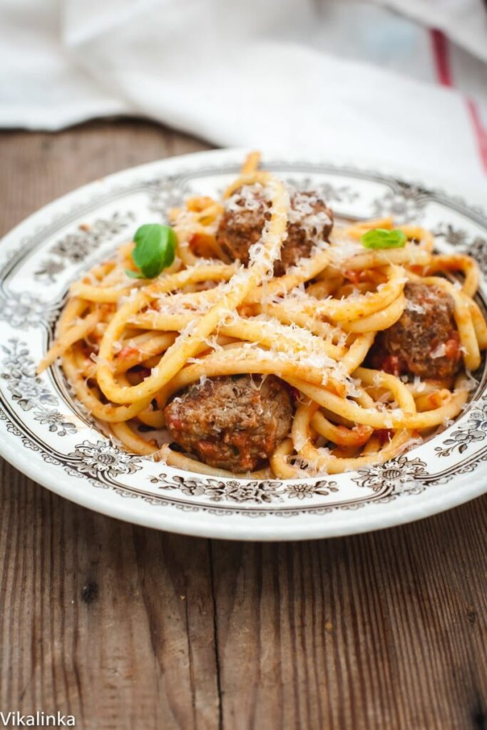 Bucatini and Meatballs- a quick an delicious weeknight dinner