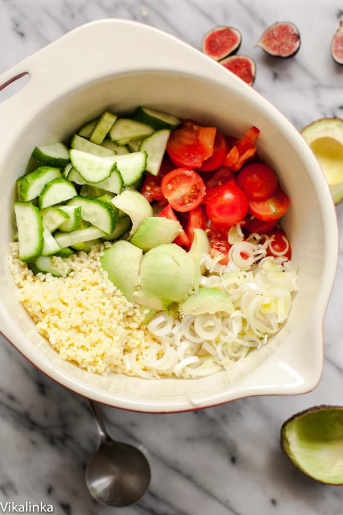Packed with fresh veggies and gluten-free millet grain this salad is healthy, lean and satisfying!