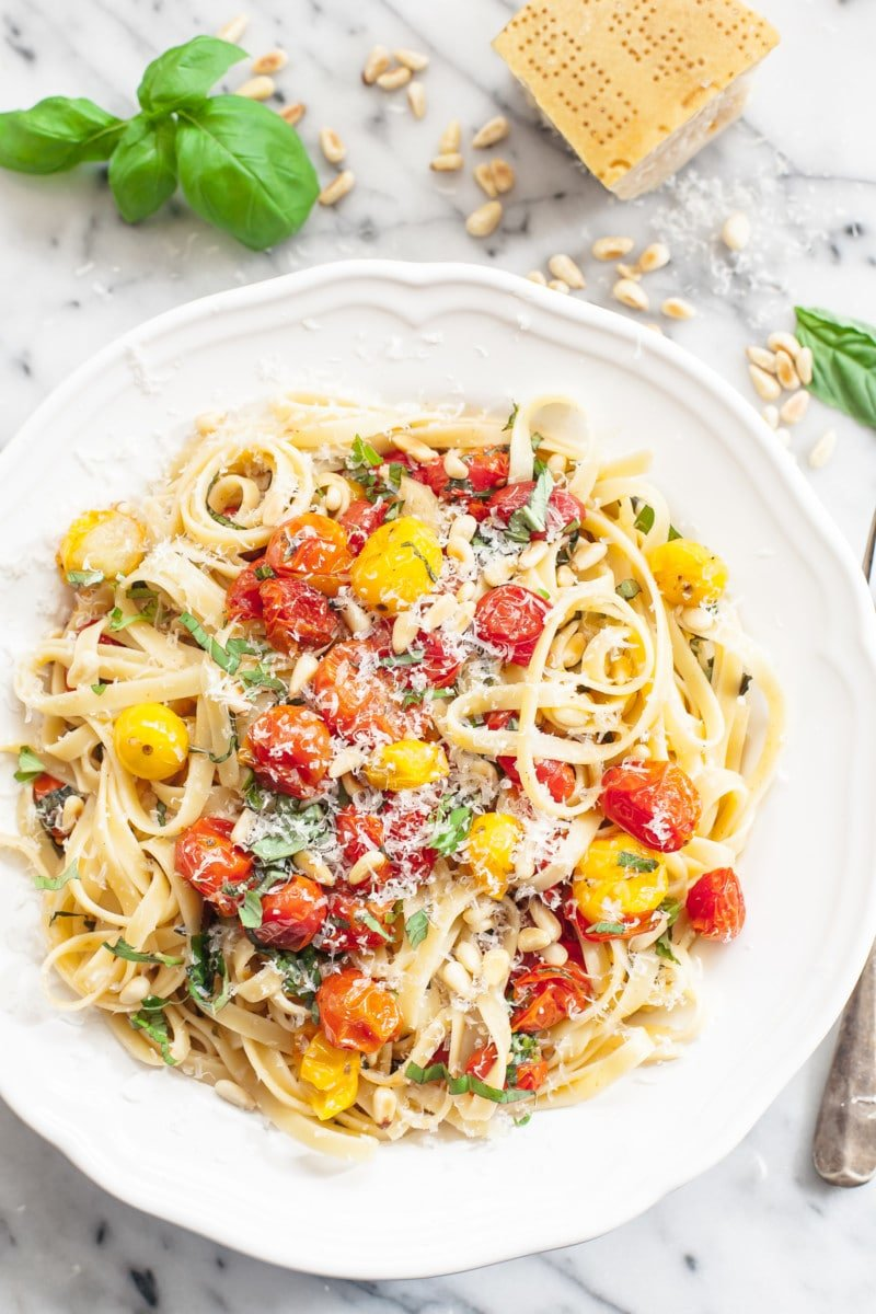 fettuccine tossed with roasted cherry tomatoes and basil