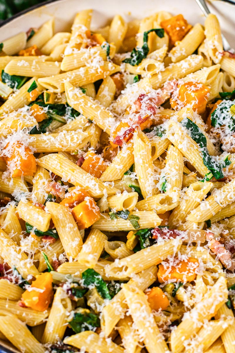 penne pasta with squash, pancetta and chard sprinkled with Parmesan closeup