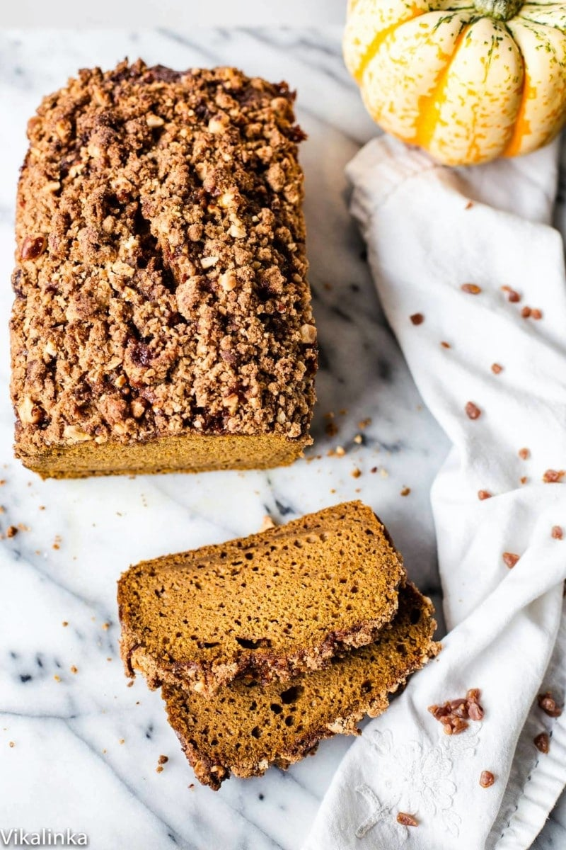 Delicious pumpkin loaf with butterscotch streusel topping. Get your kettle on!