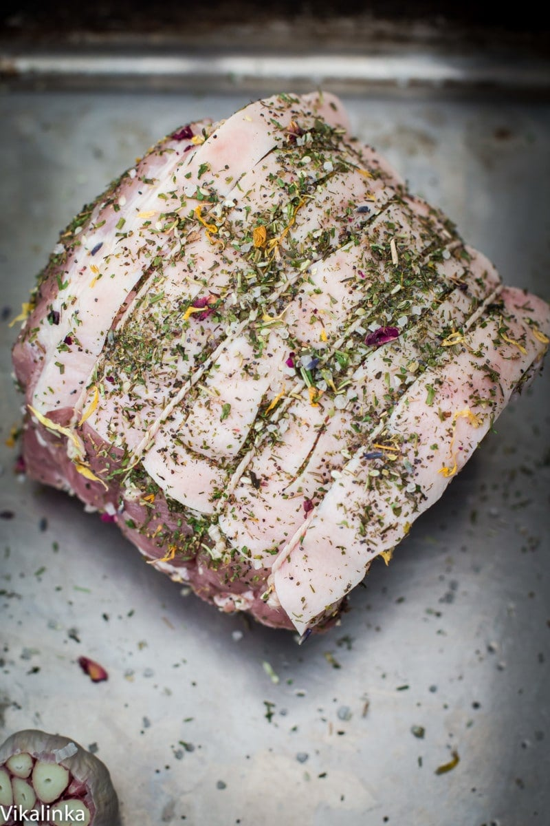 Tender and juicy pork roast rubbed with a herb, flower and seed mix will be sure to impress your friends and family!