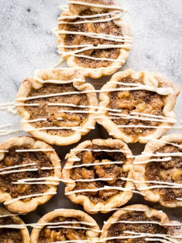 Maple Butter tarts drizzled with white chocolate