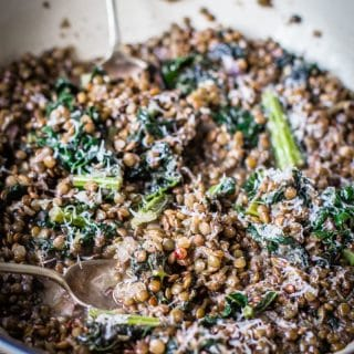 lentils and kale sprinkled with parmesan