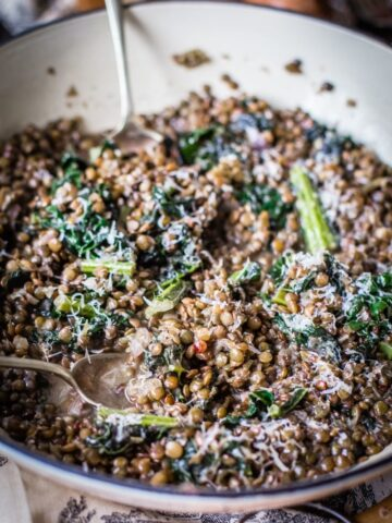 lentils and kale sprinkled with parmesan