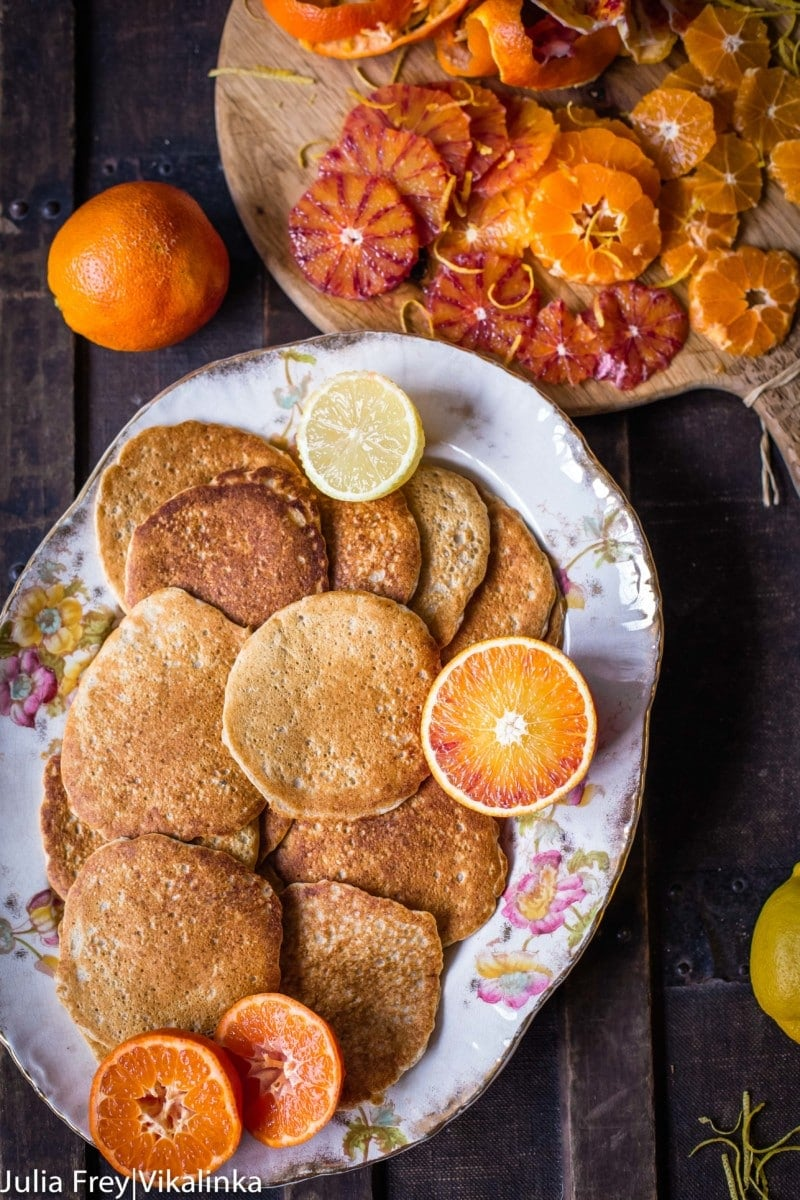 Try these Oatmeal Pancakes with Coconut Whipped Cream and Blood Oranges for a healthier start to your day! #ad
