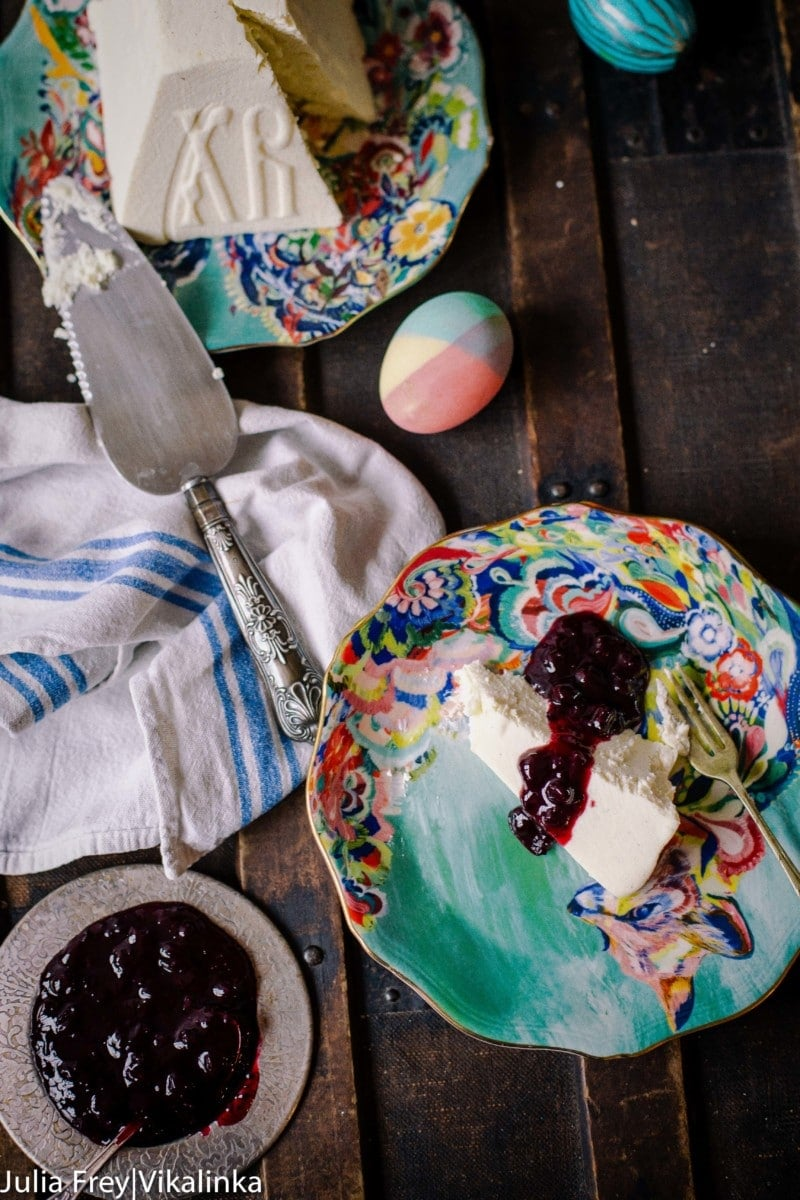 Sweet and creamy vanilla cheese pudding traditionally eaten during Russian Orthodox Easter.