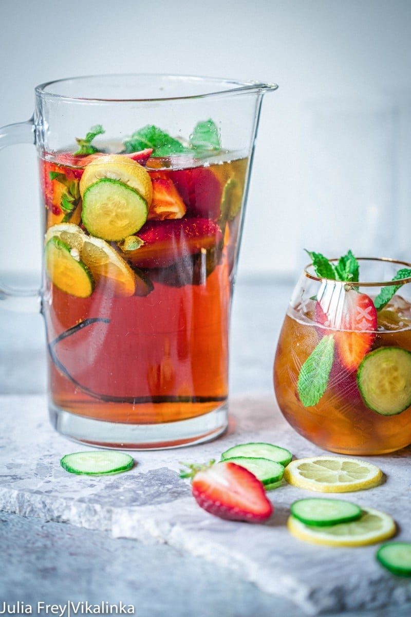 Pitcher filled with Pimm's Cocktail