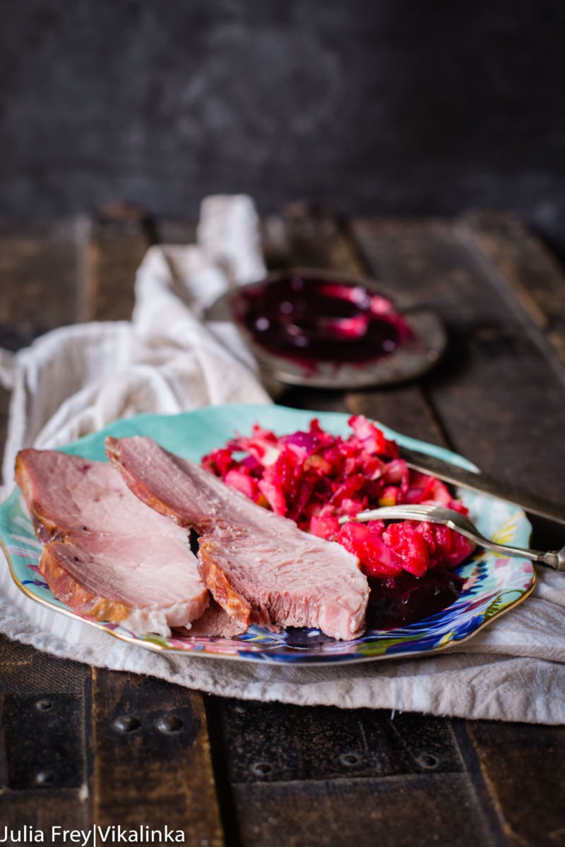 This stunning ham is glazed with sweet and tart blackcurrant compote is an easy and impressive way to feed a crowd.