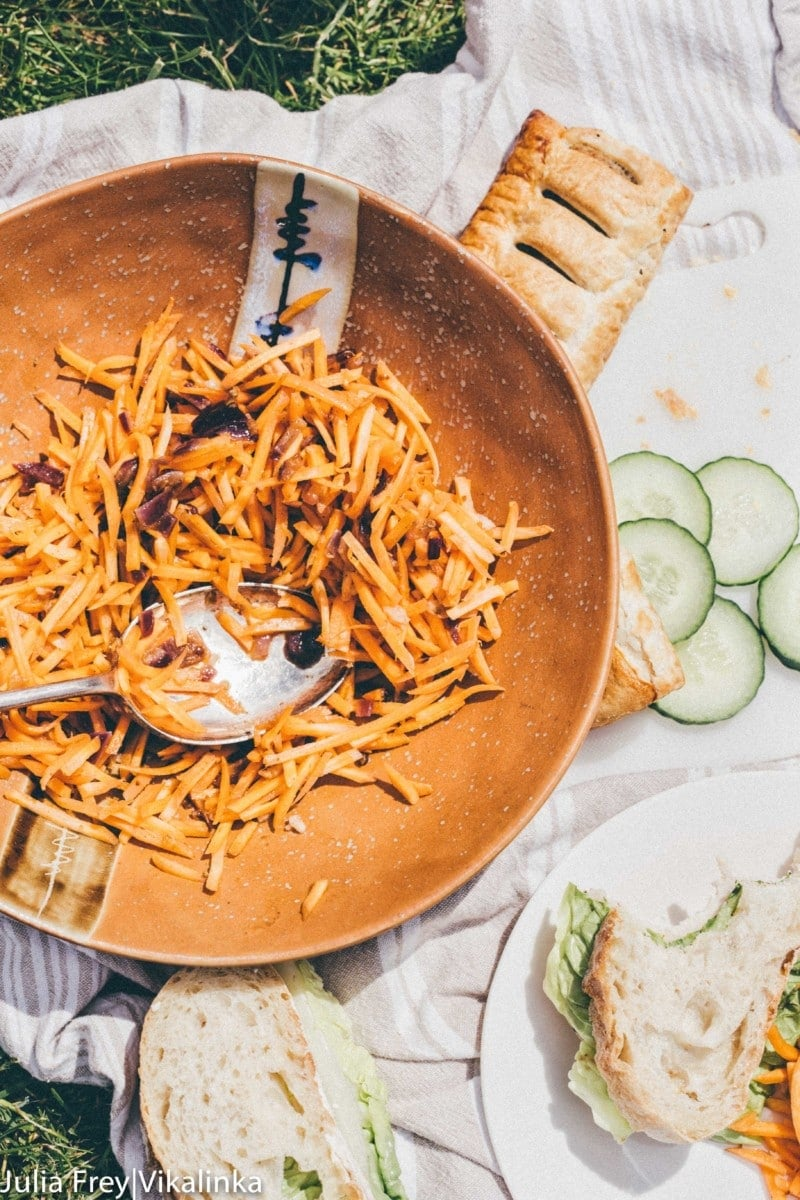 Light and zesty Korean carrot salad; perfect pairing for meat or fish.