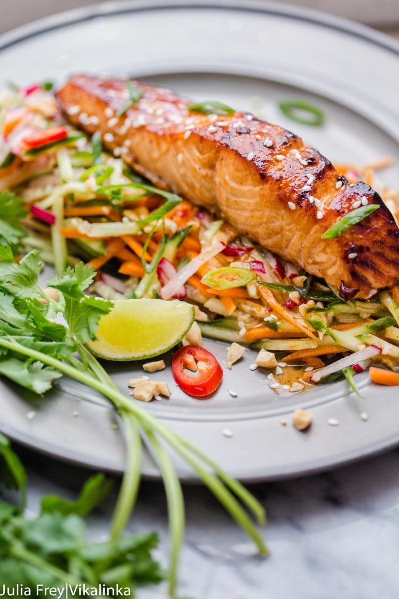 Asian Salmon with Carrot and Cucumber Slaw
