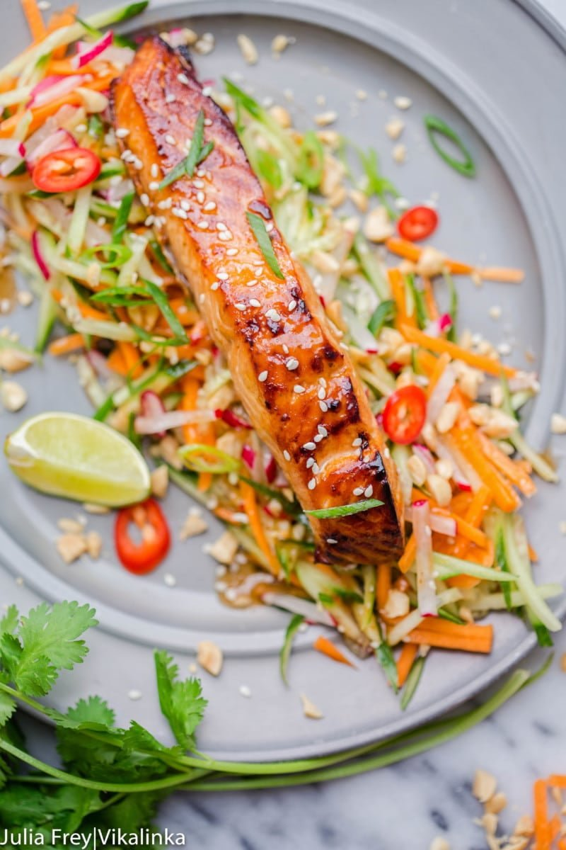 Asian Salmon With Carrot And Cucumber Slaw Vikalinka