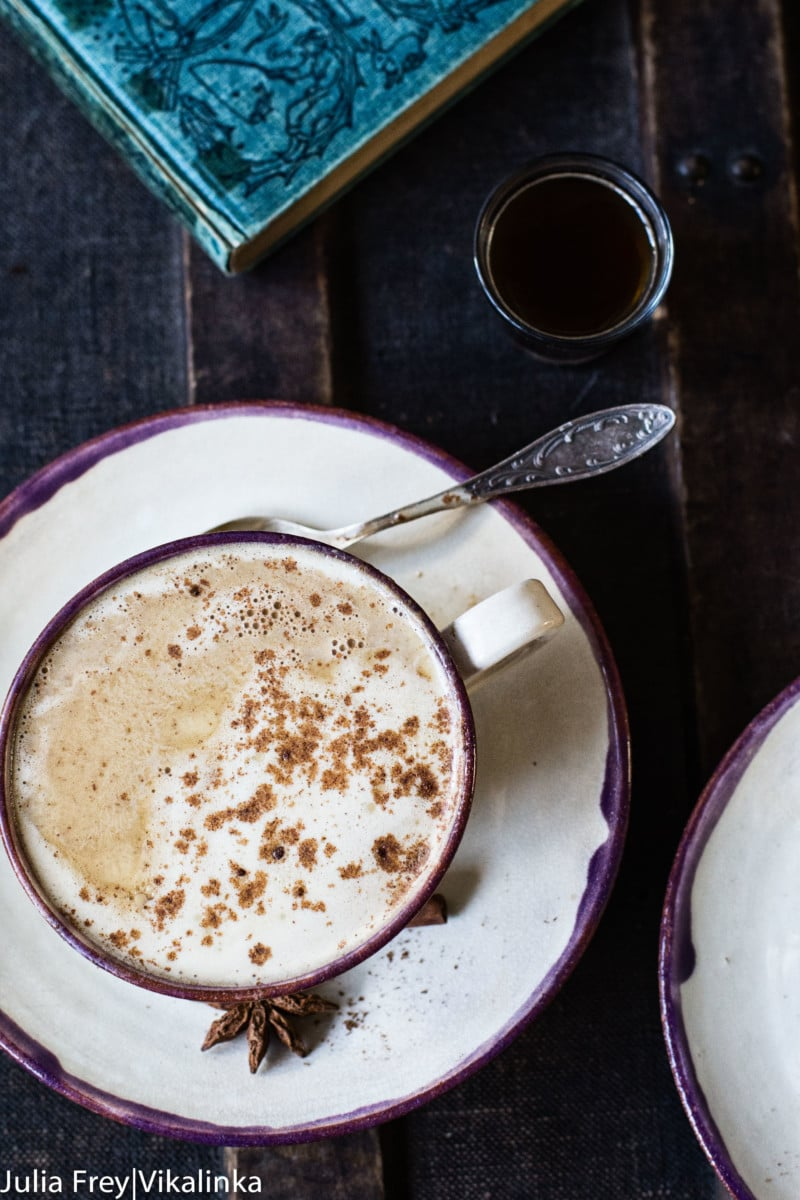 Top down of a mug of latte