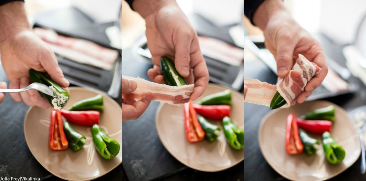 Process shot showing the pepper being stuffed and wrapped