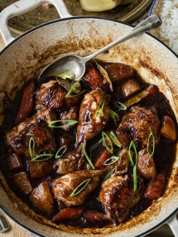 Filipino Chicken Adobo in pan