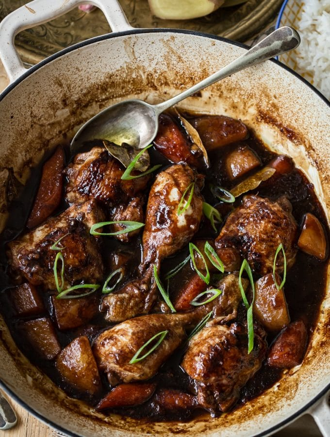 Filipino Chicken Adobo in pan