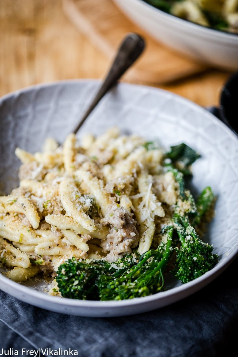 Sausage and Broccoli Pasta with Herb and Garlic Breadcrumbs