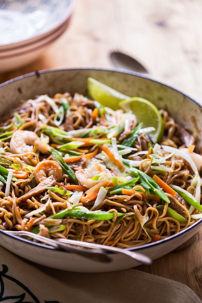 Filipino Noodles with pork, shrimp and vegetables aka Pancit Canton
