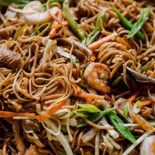 Filipino Noodles with pork, shrimp and vegetables aka Pancit Canton