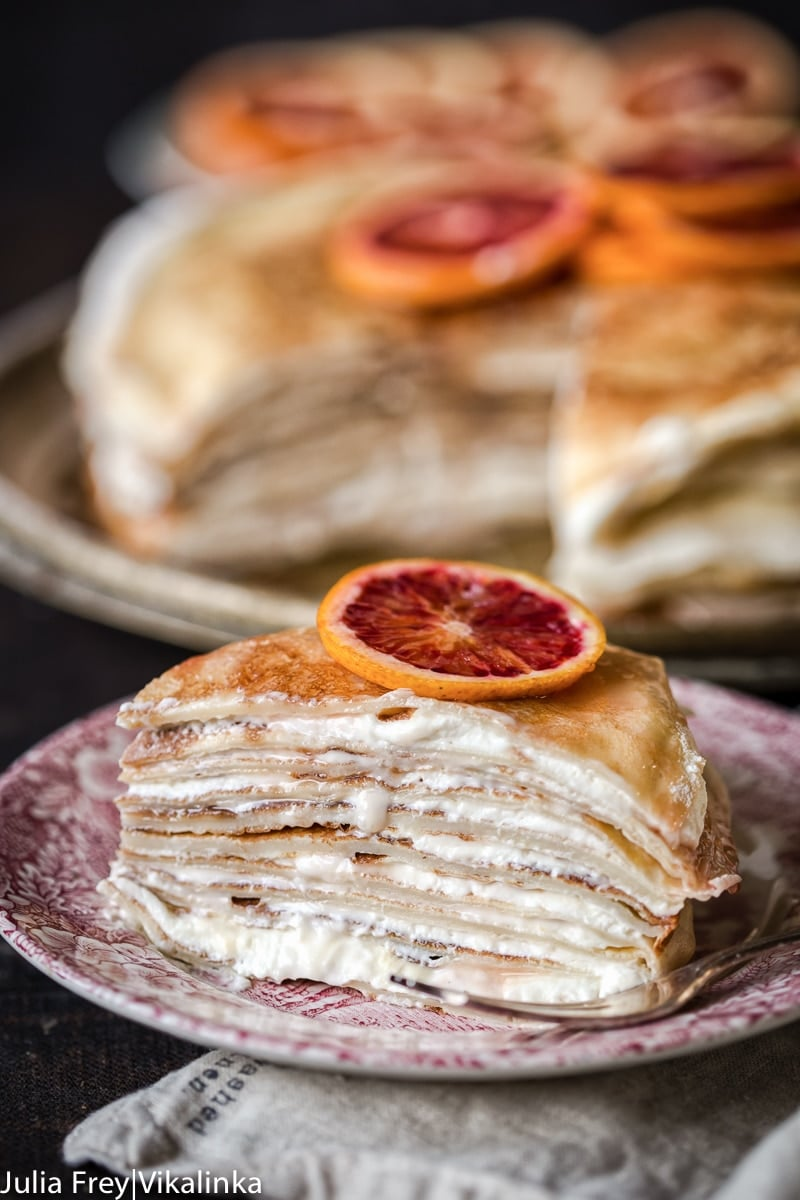Almond Crepe Cake with Blood Orange Blossom Ricotta Cream