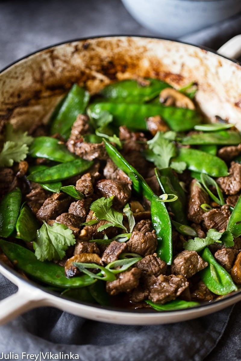 Beef, Mushroom and Snow Pea Stir Fry