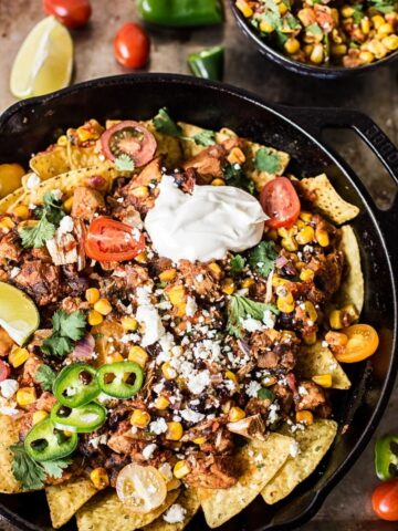 Chicken chilaquiles with warm corn salsa