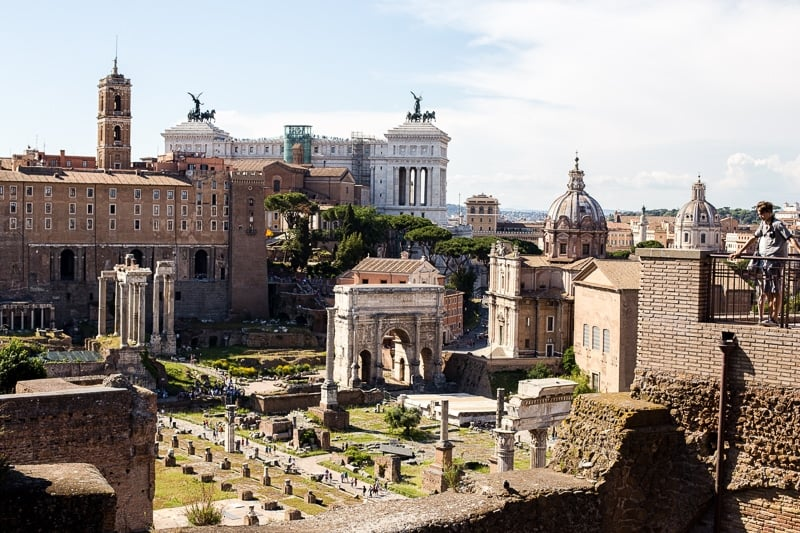 Looking over the Roman Forum, the ancient heart of the city