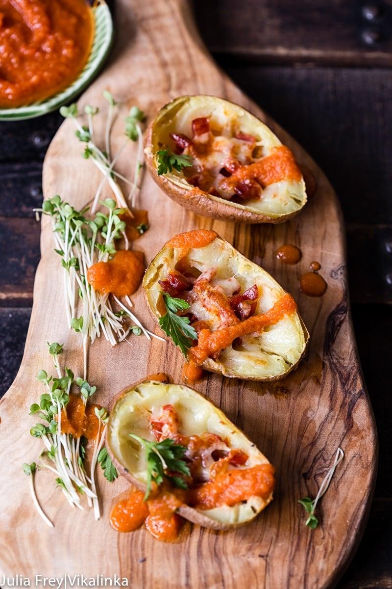 Loaded Potato Skins with Chorizo and Bravas Sauce