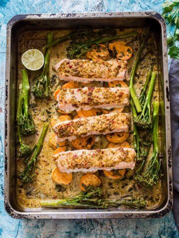 Chili Garlic Salmon with Sweet Potatoes and Tenderstem Broccoli